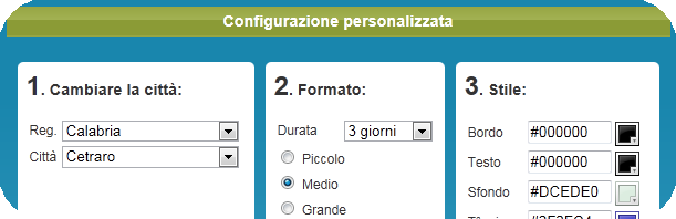Configuratore meteo Filetto
